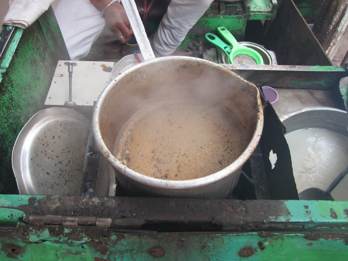 Boiling up some chai for the passersby.