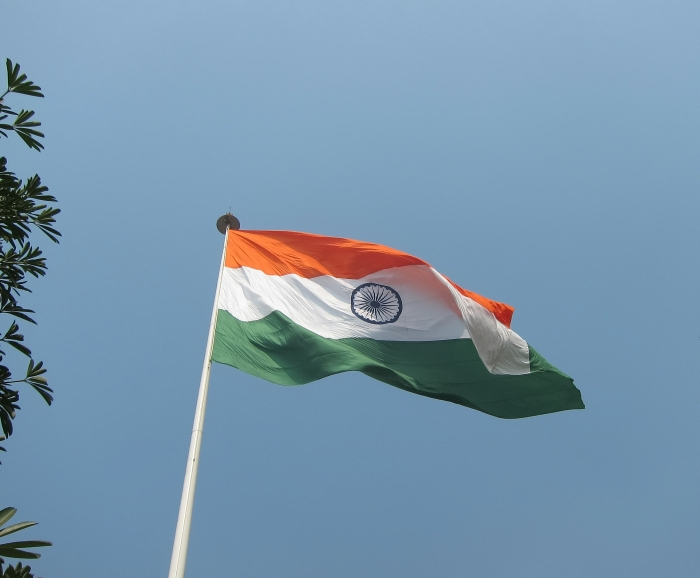 The Indian flag flying over Connaught Place, Delhi.