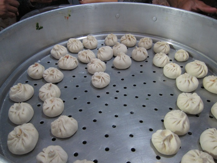 Momos before steaming. (Photo taken at 10 Dec Momo Party at Kunpan Cultural School, where I'm currently teaching English)