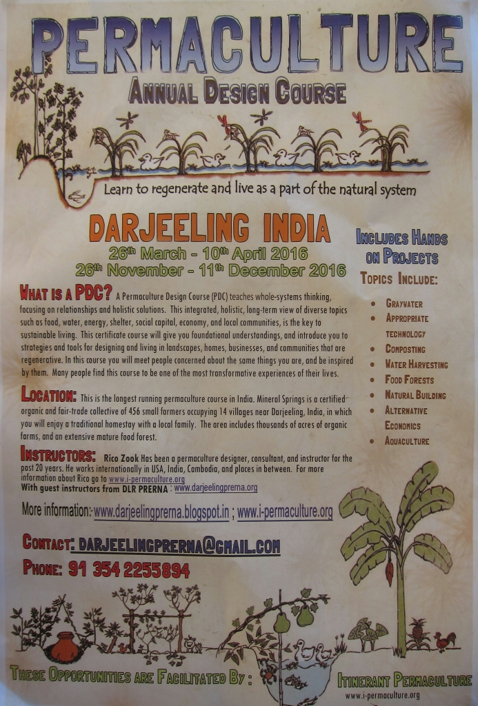 Advertisement for Permaculture Design Course.